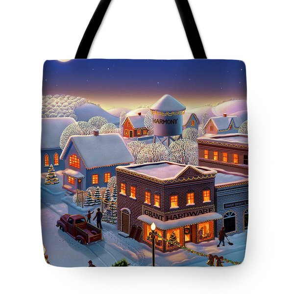Tote Bag featuring the painting Christmas In Harmony by Robin Moline
