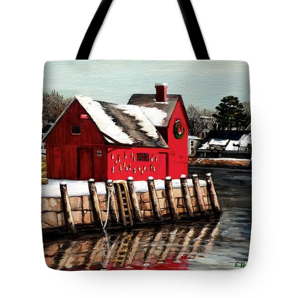 Christmas In Rockport Tote Bag