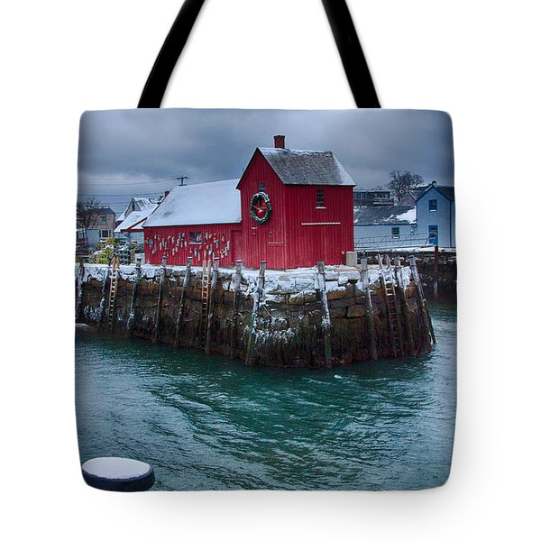 Christmas In Rockport Massachusetts Tote Bag