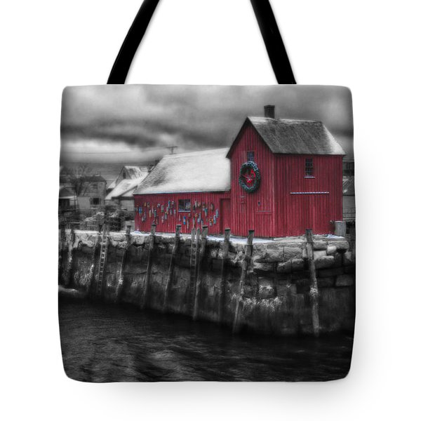 Christmas In Rockport New England Tote Bag