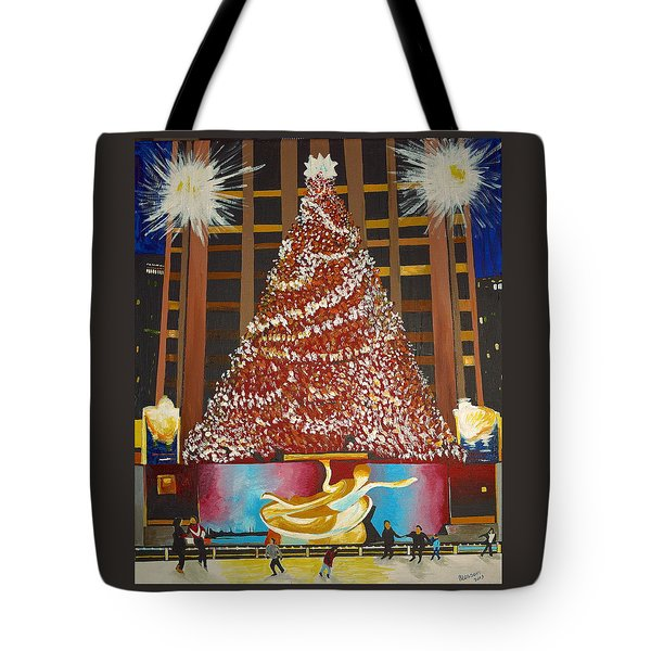 Tote Bag featuring the painting Christmas In The City by Donna Blossom
