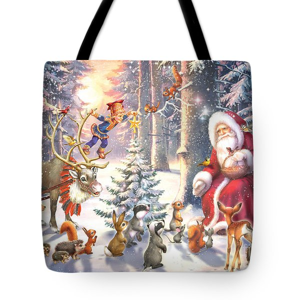 Christmas In The Forest Tote Bag by Zorina Baldescu