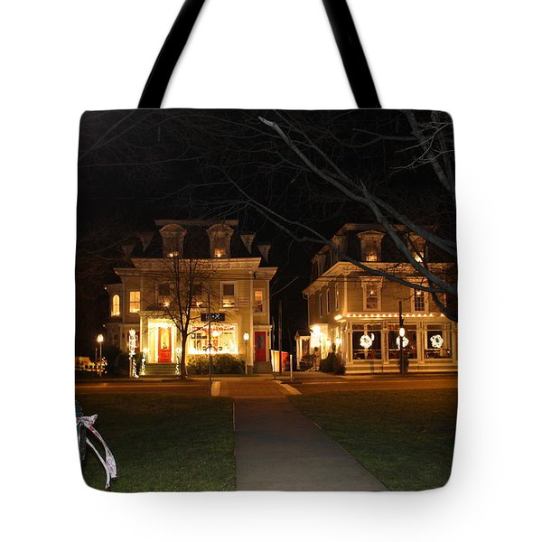 Christmas In Town Tote Bag by Catie Canetti