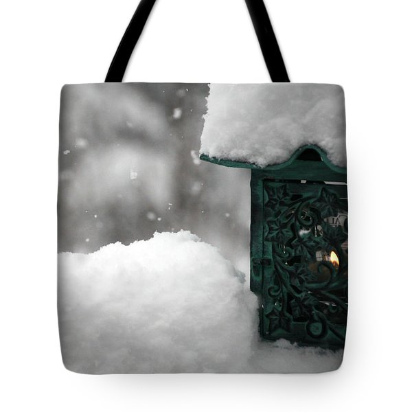 Tote Bag featuring the photograph Christmas Lantern by Katie Wing Vigil