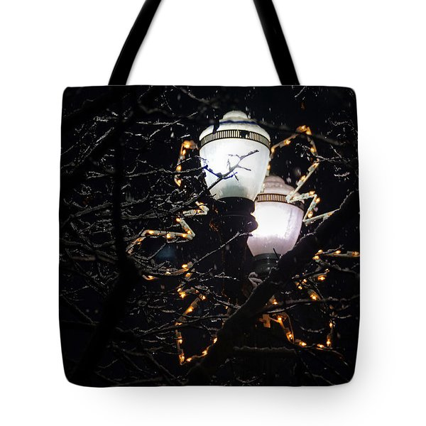 Christmas Light Post - Grants Pass Tote Bag by Mick Anderson