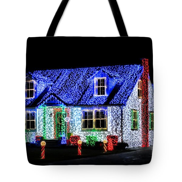 Christmas Lighthouse Tote Bag