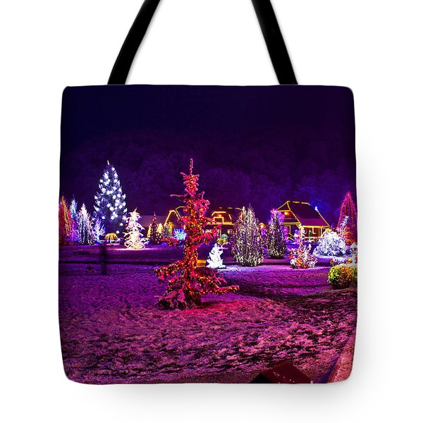 Christmas Lights In Town Park - Fantasy Colors Tote Bag by Brch Photography