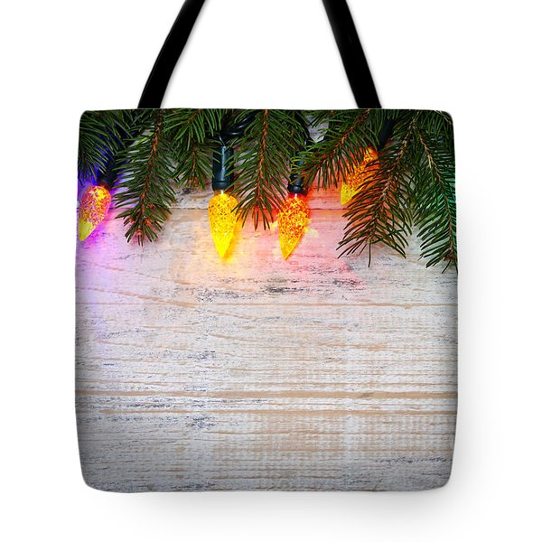 Christmas Lights With Pine Branches Tote Bag