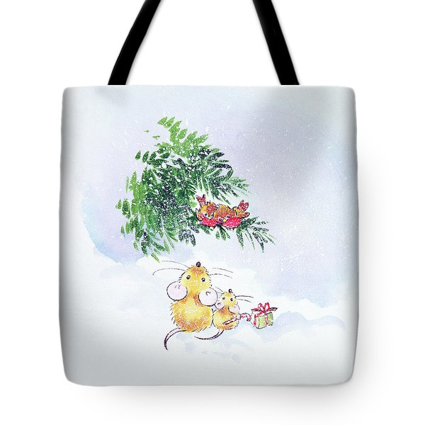 Christmas Mice And Robins Tote Bag by Diane Matthes
