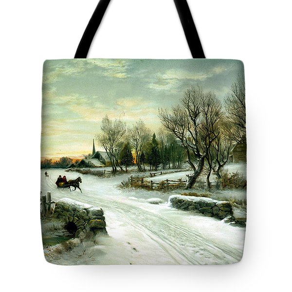 Christmas Morn Tote Bag by W C Bauer