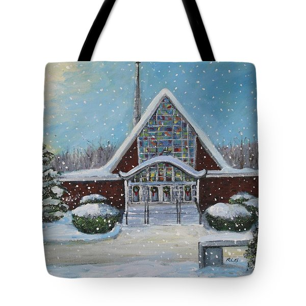 Tote Bag featuring the painting Christmas Morning At Our Lady's Church by Rita Brown