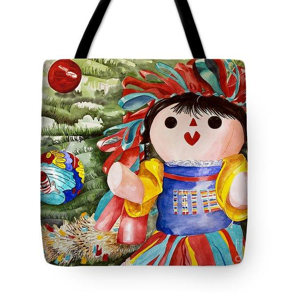 Christmas Muneca Tote Bag