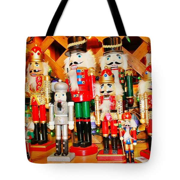 Tote Bag featuring the photograph Christmas Nutcrackers by Judy Palkimas