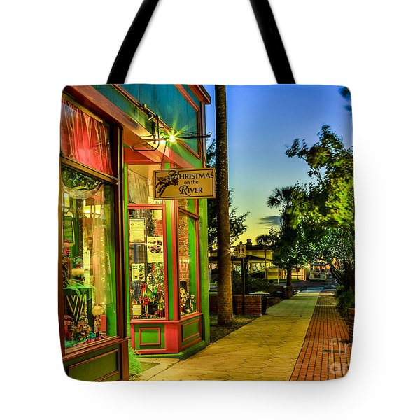 Sunset Christmas Store Tote Bag by Paula Porterfield-Izzo