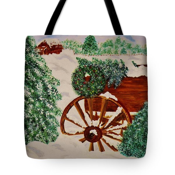 Tote Bag featuring the painting Christmas On The Farm by Celeste Manning