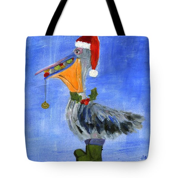 Christmas Pelican Tote Bag by Jamie Frier