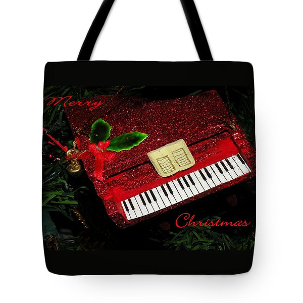 Tote Bag featuring the photograph Christmas Piano Card by Rosalie Scanlon