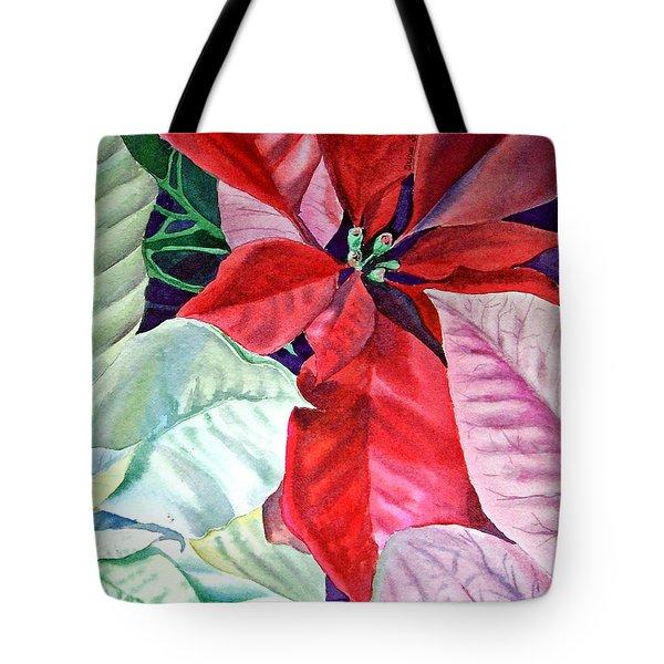 Christmas Poinsettia Tote Bag by Irina Sztukowski