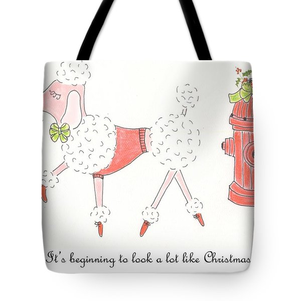 Christmas Poodle Tote Bag