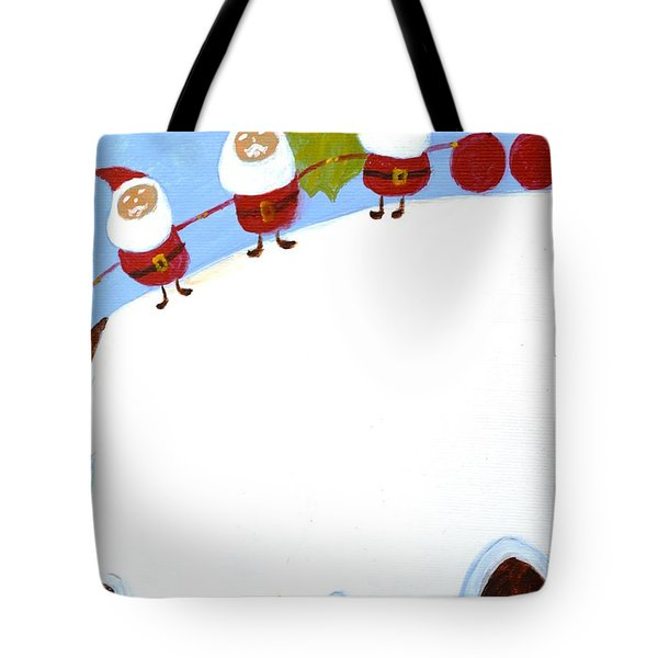 Tote Bag featuring the painting Christmas Pudding And Santas by Magdalena Frohnsdorff