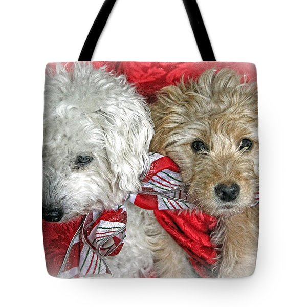 Christmas Puppy Tote Bag by Bob Hislop