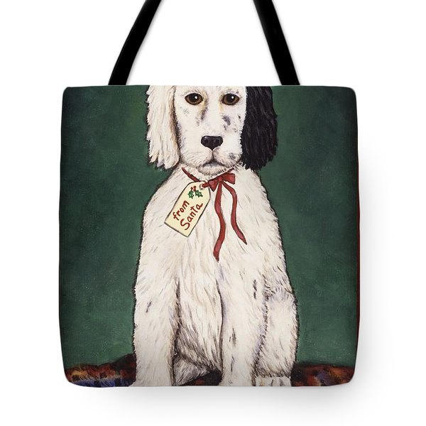Christmas Puppy Tote Bag by Linda Mears