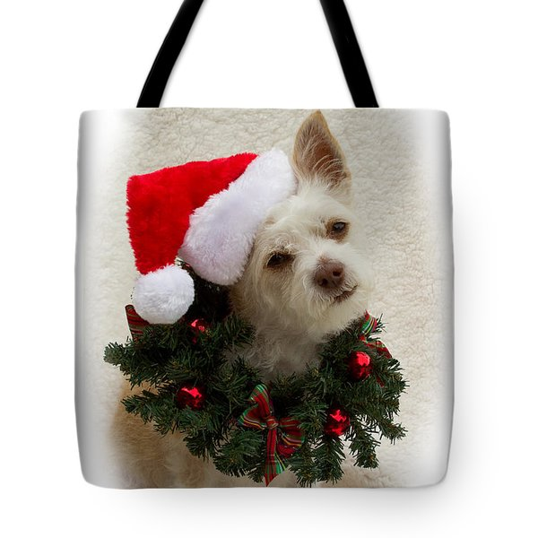 Tote Bag featuring the photograph Christmas Puppy by Photography by Laura Lee