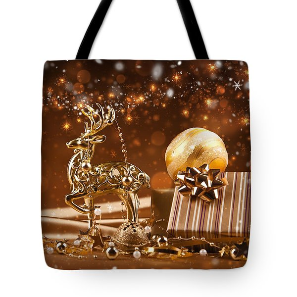 Christmas Reindeer In Gold Tote Bag by Doc Braham
