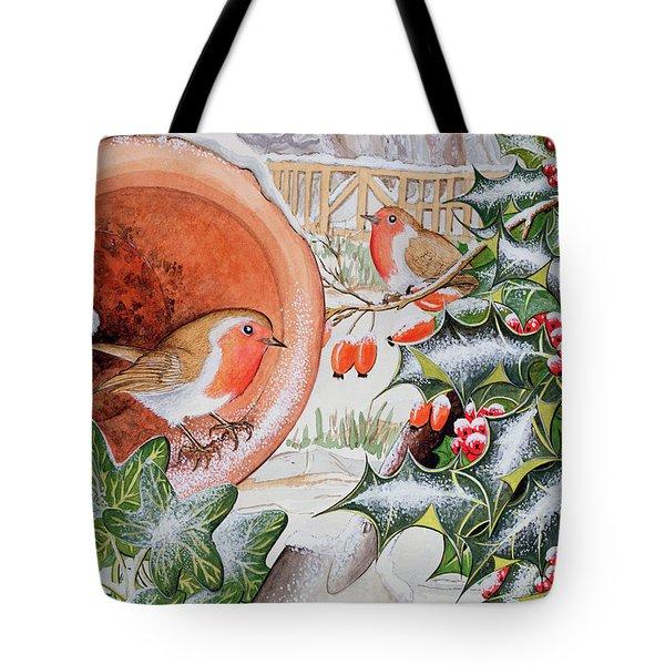 Christmas Robins Tote Bag