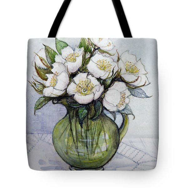 Christmas Roses Tote Bag by Gillian Lawson