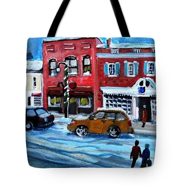 Tote Bag featuring the painting Christmas Shopping In Concord Center by Rita Brown