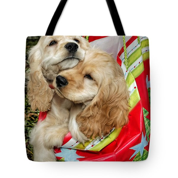 Christmas Shopping Tote Bag by Sami Martin