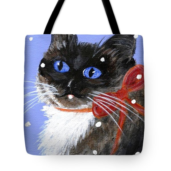 Tote Bag featuring the painting Christmas Siamese by Jamie Frier