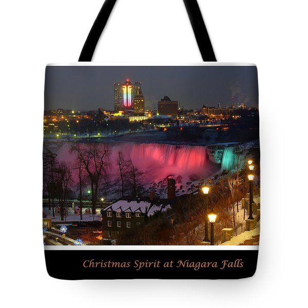 Christmas Spirit At Niagara Falls - Holiday Card Tote Bag by Lingfai Leung