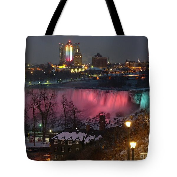 Christmas Spirit At Niagara Falls Tote Bag by Lingfai Leung