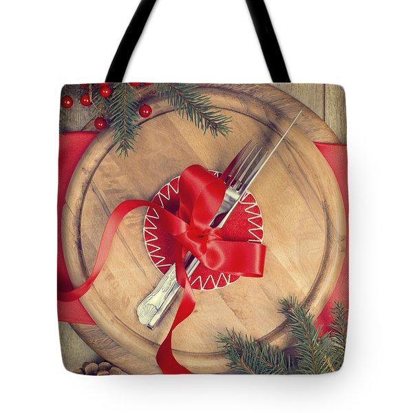 Christmas Table Setting Tote Bag by Amanda Elwell