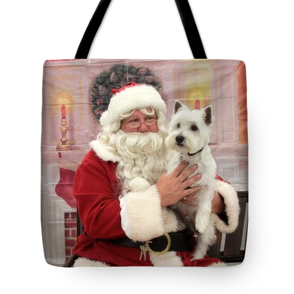 Christmas Time With A Pup Tote Bag