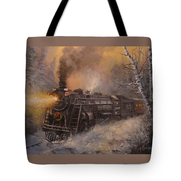 Christmas Train In Wisconsin Tote Bag