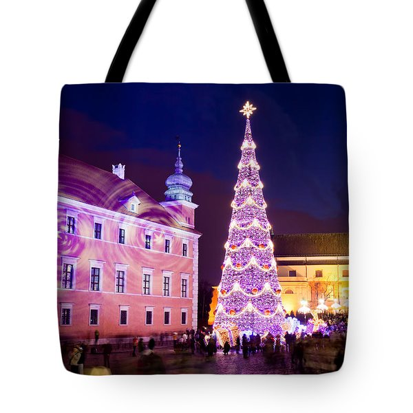Christmas Tree In Warsaw Old Town Tote Bag by Artur Bogacki