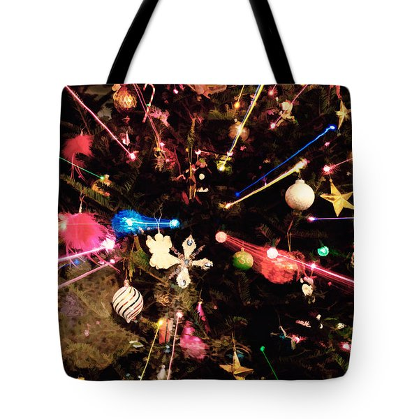 Tote Bag featuring the photograph Christmas Tree Lights by Vizual Studio