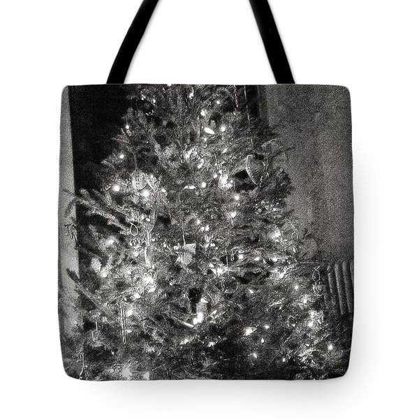 Tote Bag featuring the photograph Christmas Tree Memories Monochrome by Carol Whaley Addassi