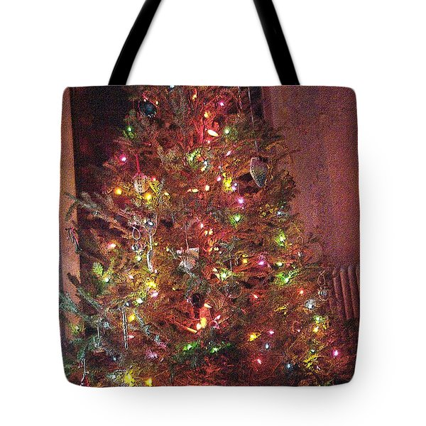 Tote Bag featuring the photograph Christmas Tree Memories Red by Carol Whaley Addassi