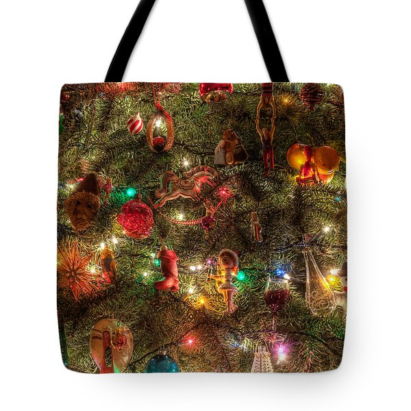 Tote Bag featuring the photograph Christmas Tree Ornaments by Sonny Marcyan