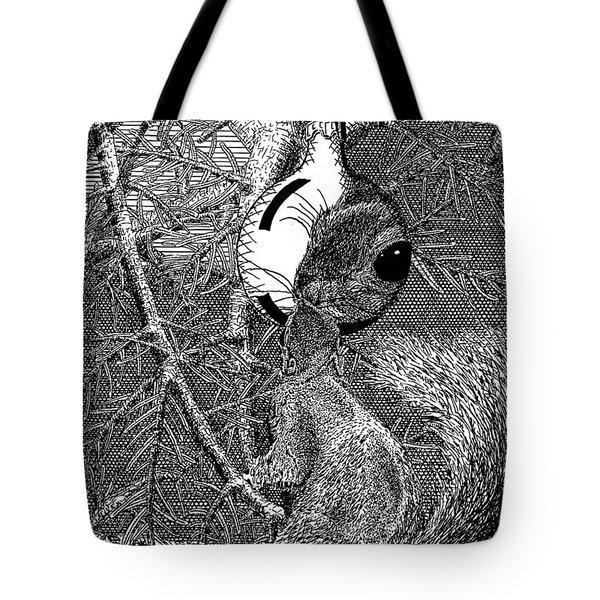 Christmas Tree Squirrel Tote Bag