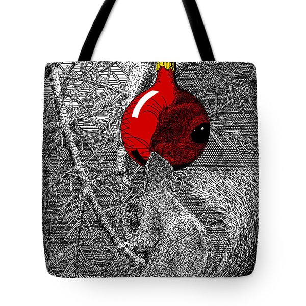 Christmas Tree Squirrel With Red Ornament Tote Bag