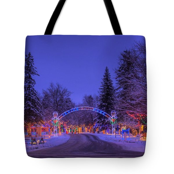 Christmas Village Tote Bag by Larry Capra