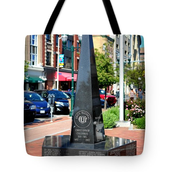 Christopher Columbus Monument Tote Bag by Boris Mordukhayev