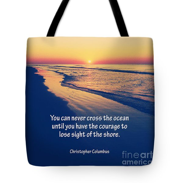 Christopher Columbus Quote Tote Bag by Phil Perkins