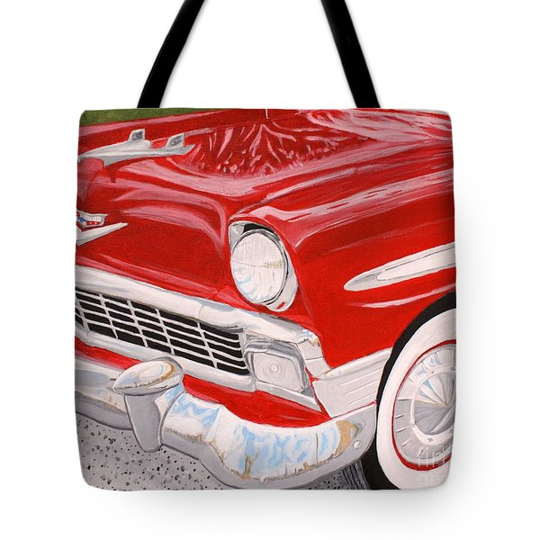Chrome King 1956 Bel Air Tote Bag by Vicki Maheu