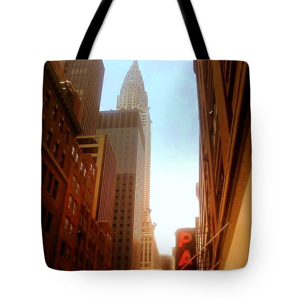 Chrysler Building Rises Above New York City Canyons Tote Bag by Miriam Danar